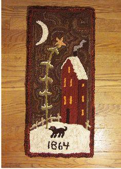 Primitive Folk Wool Hooked Rug 1864 Saltbox House   eBay sold  128.00