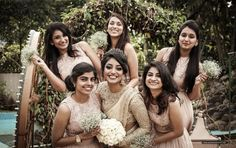 What kind of bridal squad you and your besties are? Indian Wedding Bridesmaids, Indian Bridesmaid Dresses, Bridesmaid Saree, Christian Bridal Saree, Christian Bride, Christian Weddings, Kerala Wedding Photography, Bridal Photography, White Saree Wedding