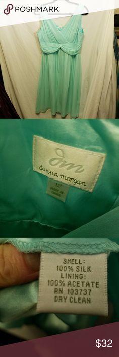 DONNA MORGAN Jessie Silk Chiffon Mint Green Dress Very good condition dress by Donna Morgan.  Size 12 Shell 100% Silk Lining 100% acetate Back zipper closure Donna Morgan Dresses Midi