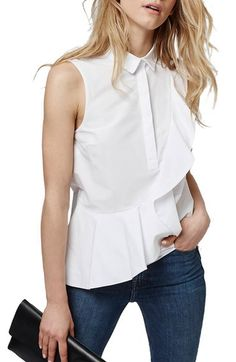 Topshop Sleeveless Ruffle Shirt available at #Nordstrom