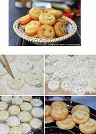 ΠΑΤΑΤΟΥΛΕΣ ΦΑΤΣΟΥΛΕΣ !!!  Χρειαζόμαστε: πατάτες ένα ξύλινο καλαμάκι κορν φλαουρ  λάδι για τηγάνι Εκτέλεση : Κόβουμε τις πατάτες σε ροδέλες,τις περνάμε από το κορν φλαουρ, μετά με ένα καλαμάκι φτιάχνουμε τα ματάκια και το χαμόγελο. Τηγανίζουμε και έτοιμα!!!!