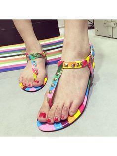 Designed Buckle Rivet Clip Toe Assorted Colors Flat-sandals Flat Sandals from fashionmia.com