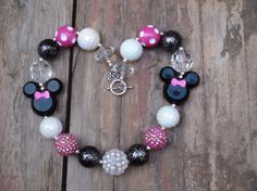 Disney Classic Minnie Mouse Bowtique Inspired Girls Pink Chunky Necklace Necklace, Chunky Bead Necklace