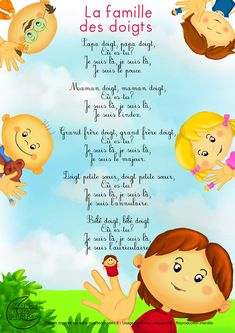 Paroles_La famille des doigts French Kids, French Class, French Lessons, Teaching Kids, Kids Learning, French Poems, French Resources, French Language Learning, Teaching French