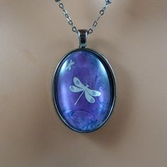 Purple Dragonfly Necklace / Dragonfly Jewelry