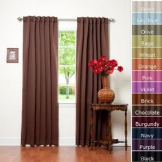 Solid thermal curtains available in a wide variety of colors. Good value for any contemporary design.