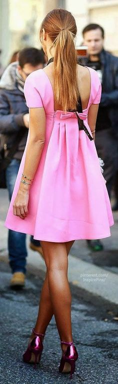 street style pink cocktail dress