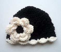 Black Baby Crochet Beanie Hats with Large Flowers Handmade Gift [BBH09] - $14.50 : Tina Crochet Studio, Fashion Anniversary Gifts for Her Handmade Crochet Women Bohemian Accessory