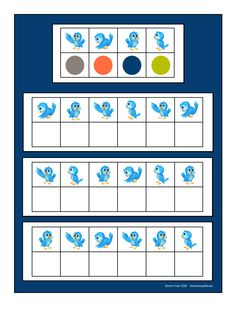 Board for the blue bird visual perception game. Find the belonging tiles on Autismespektrum on Pinterest. By Autismespektrum