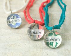 Dream Little Reminder pendant necklace with vintage wallpaper - Sterling chain / red