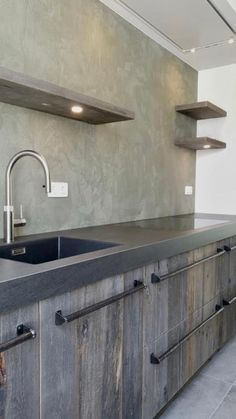 Dining Bench With Back, Kitchen Cabinets And Countertops, Concrete Kitchen, Cabin Kitchens, Pantry Design, Kitchen Themes, Kitchen On A Budget, Cuisines Design, Küchen Design