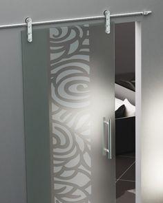 Aura Etched Glass Barn Doors Frameless Glass Sliding Doors