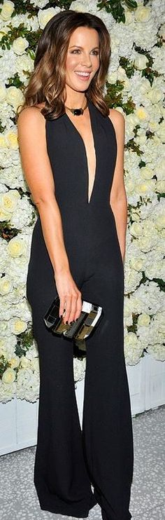 Who made  Kate Beckinsale's black plunge jumpsuits?