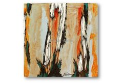 Burnt Orange Yellow ORIGINAL Paintings Trees soft by KatShoa