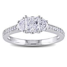 Miadora Signature Collection 14k Gold 1 1/10ct TDW Half Moon Side Stone Diamond Ring