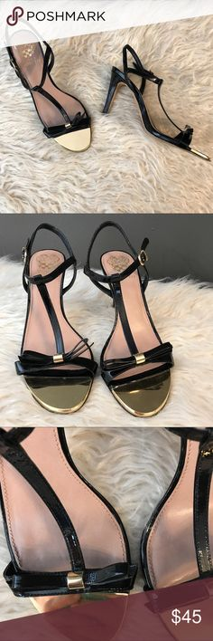 Vince Camuto bow sandals Good condition, normal wear and tear as pictured, cute bows with gold detail, One Bow has lifted a little bit but nothing bad as pictured, one small spot on the heel as pictured,please see pictures for condition, size , and material, no trading , Vince Camuto Shoes Heels