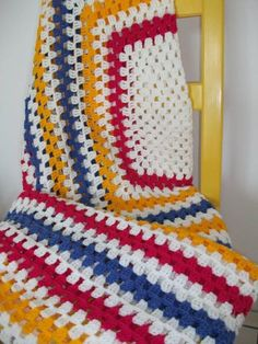 Double Bed spread in soft dk weight acrylic. Bright summer colours.