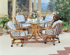 Santa Cruz Wicker Caster Dining Sets by Classic Rattan