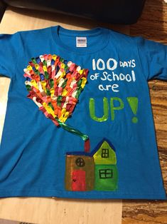 100 days of school T-shirt inspired by the movie UP!! Made this with 100 water balloons!