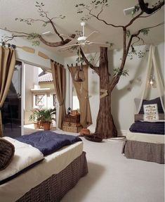 20 Amazing Bedroom Designs You'll Hunger For Tropical Bedroom Furniture Forest Bedroom, Forest Theme Bedrooms, Tree Bedroom, Magical Bedroom, Cat Bedroom, Fantasy Bedroom, Tropical Bedrooms, Teenage Room, Mediterranean Decor