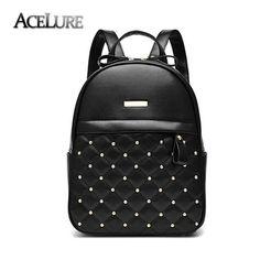 Women Backpack Hot Sale Fashion Causal bags High Quality bead female  shoulder bag PU Leather Backpacks 24fc17cf3a530