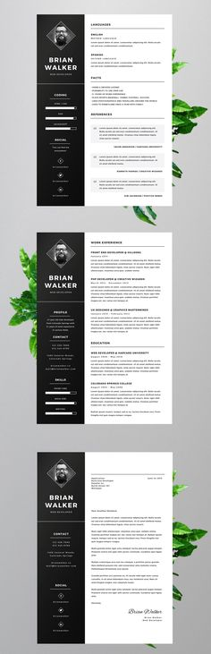 Modern Resume Template + Cover Letter - CV Template - MS Word on - ms word resume templates free
