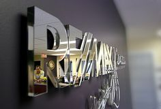 WALL MIRROR DECORATIVE OFFICE SIGN, CORPORATE LOGO WITH 3 DIMENSIONAL LOOK, DECORATIVE MODERN MIRROR