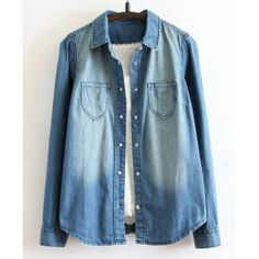 Trendy Long Sleeve Turn Down Collar Pockets Design Denim Shirt For Women