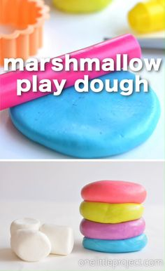Marshmallow Play Dough - games - This marshmallow play dough was a huge hit with the kids! My 6 year old had a blast making it. My 4 - Fun Crafts For Kids, Baby Crafts, Summer Crafts, Toddler Crafts, Crafts To Do, Preschool Crafts, Projects For Kids, Diy For Kids, Kids Food Crafts
