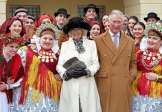 OSIJEK, CROATIA - MARCH 15: Prince Charles, Prince of Wales and Camilla, Duchess of Cornwall pose with traditional Croation Dancers in the town square on March 15, 2016 in Osijek, Croatia. The Prince and the Duchess are on the second day of a two day visit to Croatia. (Photo by Chris Jackson - Pool/Getty Images)