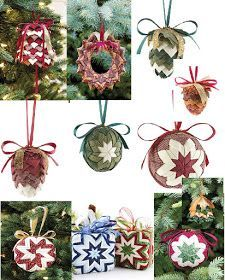 How to make a No-Sew ornament and free ornament patterns, DIY and Crafts, No Sew Ornaments to Make for Christmas. Diy Quilted Christmas Ornaments, Folded Fabric Ornaments, Diy Christmas Ornaments, Christmas Balls, Homemade Ornaments, Felt Christmas, Homemade Christmas, Rustic Christmas, Christmas Stuff