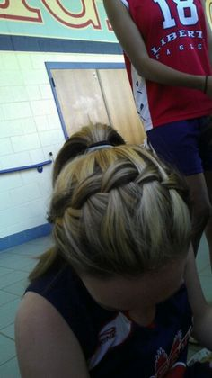 Waterfall braid head band into a ponytail