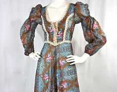 "Vintage 1969  Black Label ""Gunne Sax by Jessica""  Very Rare! Renaissance Style Floral Maxi Dress"