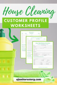 Customer Profile Intake Worksheets for professional house cleaners.  Grab these sheets while they're FREE so that you 'll collect all the important details of your next house cleaning customer.  Print-and-go business forms maid services.  #ajanitorsstory #housecleaningbusiness #freecleaningprintables House Cleaning Prices, House Cleaning Company, House Cleaning Tips, Deep Cleaning Tips, Cleaning Hacks, Office Cleaning, Business Articles, Business Tips, Business Planner