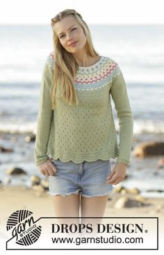 Spring Valley Jumper with round yoke and lace pattern by DROPS Design. Free Knitting Pattern