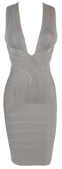 'Vanessa' Grey Deep V Backless Bandage Dress. Sweet GOD, that's a dress.