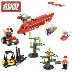 GUDI Fire Rescue Airplane Action Model Building Blocks Bricks Sets 2017 Children Safe Educational Toys