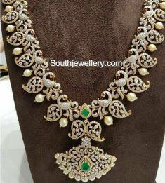 Zircon Emerald Peacock Mango Necklace made with Sterling Silver Diamond Necklace Set, Diamond Bracelets, Diamond Jewelry, Gold Jewelry, Diamond Choker, Gold Necklace, Sapphire Necklace, Statement Jewelry, Indian Wedding Jewelry
