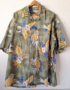Pierre Cardin Mens Pineapple Coconuts Tiki Khaki Yellow Blue Hawaiian Shirt XXL #PierreCardin #Hawaiian