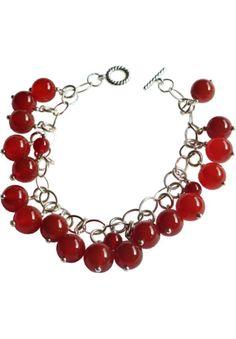 Plus Size Women's Blackat Carnelian Sterling Charm Bracelet