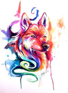 Colorful Watercolor WolfDog by Lucky978.deviantart.com on @deviantART