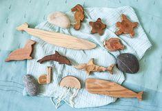 Wooden animal toy set Fish toys set Whale toy snail toy