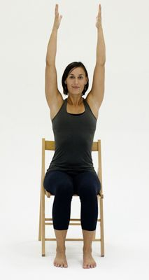 10 Yoga Poses You Can Do in a Chair: Chair Raised Hands Pose & Urdhva Hastasana yoga poses, yoga pose, pose morning, pose for beginners easy, people yoga pose Yoga Fitness, Senior Fitness, Fitness Exercises, Muscle Fitness, Physical Fitness, Gym Workouts, Qi Gong, Chair Pose, Massage