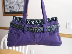 Purple Denim Jean Purse with Boxer Shorts Liner by JeanneBeans, $19.00
