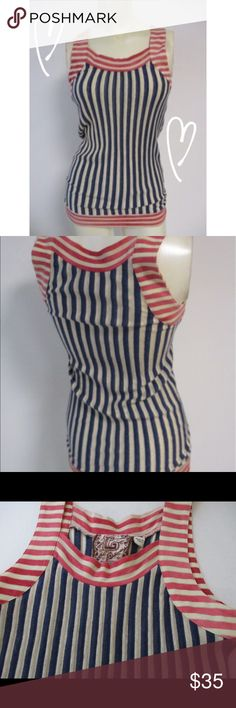 "L.A.M.B Gwen Stefani Stripe Tank Top 4 6 MEASUREMENTS  Bust- 14-16"" Laid flat to measure  Waist-  Hip-  Length- 27""   Beautiful top from L.A.M.B. by Gwen Stefani Size 6 but may run just a bit small to fit 4 to small 6 Blue stripe body with red stripes around arms and neckline From Spring 2009 collection Cotton/polyester/linen- Hand washable Excellent condition L.A.M.B. Tops Tank Tops"