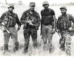 South African Recce operators, from left to right, Koos Stadler, André Diedericks, a UNITA member known as Captain Mickey, and Neve Matias, another recce. Stadler and DIedericks were on two-men missions to infiltrate Angola and destroy the FAPLA's MIG-21 and MIG-23 on the runways.