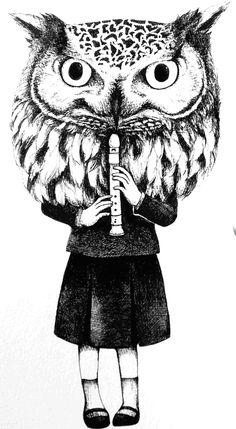 owl mask  female        I drew with a pen . by mayuko