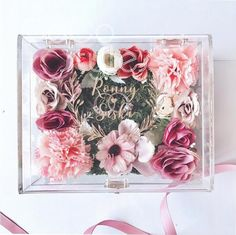 Cocostyles personalized rustic flower acrylic ring box with gold engraving logo for forest wedding gift box-in Gift Bags & Wrapping Supplies from Home & Garden on Aliexpress.com | Alibaba Group