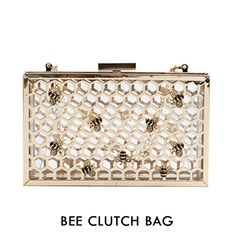 """NEW Bee Jeweled Gold Chrome See-thru Clutch Skinnydip NWOT  ● Size: approx 7.125"""" x 4.25"""" x 2.25""""  ● Material: Perspex & Metal & Crystal  ● Removable chain strap drop: approx 23""""  ● Condition: Brand New / Never been used or tried  100% Authentic Skinnydip!   Buzzzz! Be a total honey with this gold chrome Bee clutch! Designed to stand out! Bee jeweled clutch will most certainly grab attention! Taking style notes from the latest trends, this honeycomb metallic gold chrome clutch is perfect for…"""