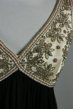 Bead embroidery on a Chocolate Brown Chiffon evening dress from the 1960s.